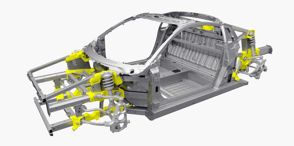The NSX heralds the world's first application of ablation casting technology in the automotive industry. Ablation cast nodes act as fixtures that hold the space frame in place during welding providing design flexibility and class-leading frame/body rigidity.