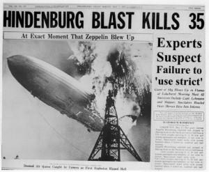 Στις 6 Μαΐου του 1937 το τεράστιο αερόπλοιο Hindenberg εξερράγη στον αέρα ενώ ήταν φουσκωμένο με υδρογόνο...