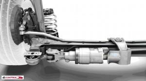 Το σύσητμα ενεργητικής τετραδιεύθυνσης της Renault Laguna είναι το μόνο αξιόλογο παράδειγμα made in Europe. Εδώ σε μεγέθυνση ο ενεργοποιητής του συστήματος.