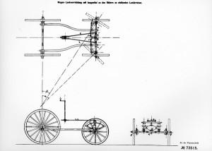 Μηχανολογικό σχέδιο του Carl Benz το οποίο απεικονίζει την γεωμετρία συστήματος διεύθυνσης πριν από περίπου 107 χρόνια. Οι νοητοί άξονες των τροχών δείχνουν ξεκάθαρα το περίφημο τετράπλευρο του Ackerman, μία από τις βασικές αρχές της κινηματικής