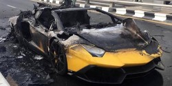 Yellow-Lamborghini-Aventador-burning 1200