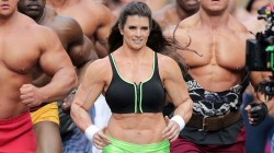 **EXCLUSIVE** FLEX THOSE MUSCLES! Danica Patrick gets into a muscle suit to film a Go Daddy Super Bowl commercial