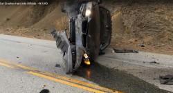 Car Crashes Hard into Hillside (2)