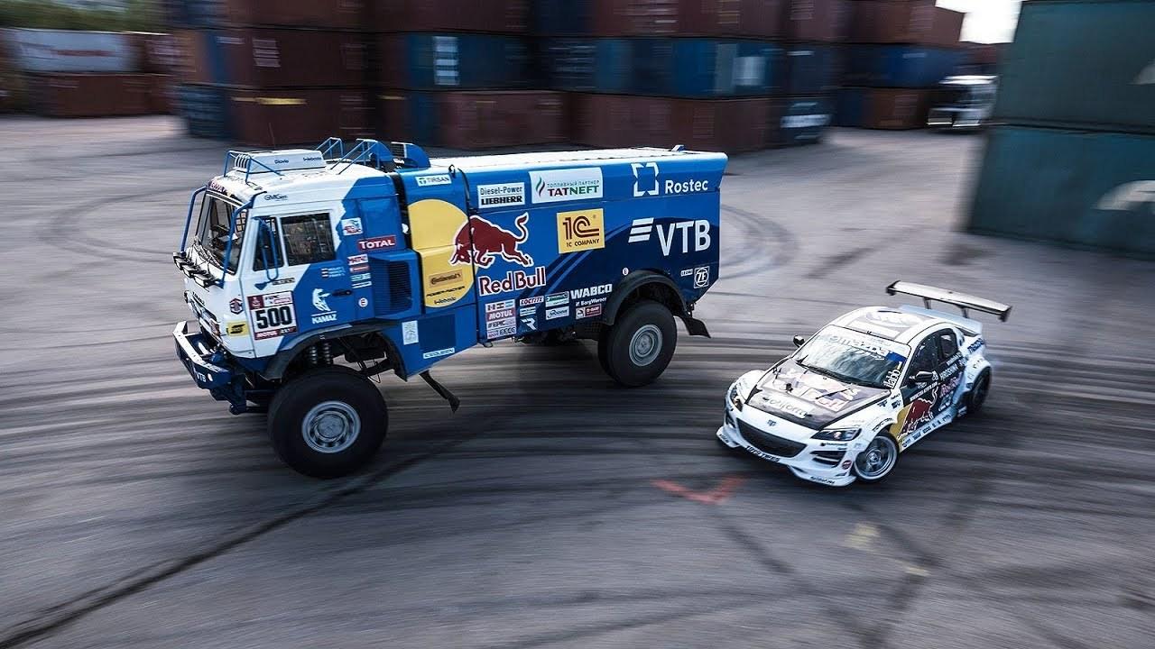 Photo of Ένα Mazda RX-8 ντριφτάρει μαζί με ένα φορτηγό KAMAZ [vid]
